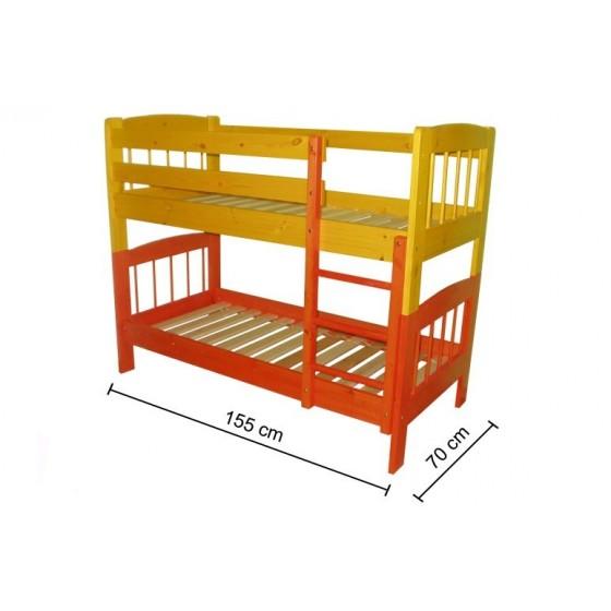 Dviaukštė pušinė lova vaikams 70x155 cm