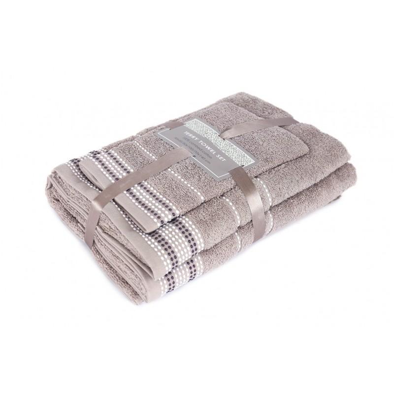 3 dalių rankšluosčių komplektas Taupe