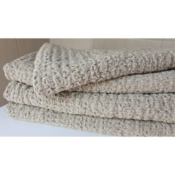 Lininis pilkas vonios rankšluostis