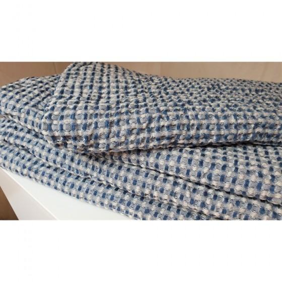 Puslininis vonios rankšluostis su baltais ir mėlynais langeliais