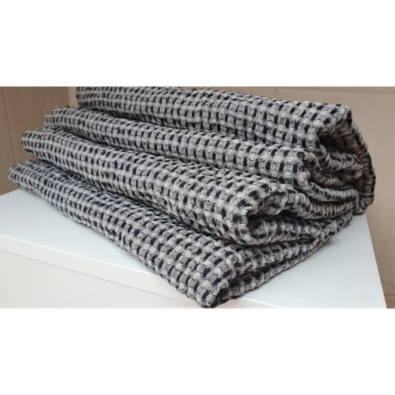 Puslininis vonios rankšluostis juodais langeliais (linas 53%)