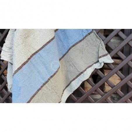 Lininis vonios rankšluostis su mėlynomis juostomis